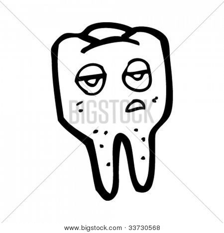 cartoon sad tooth