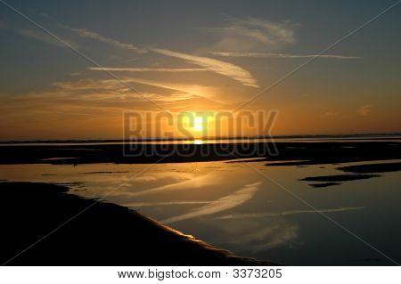 Autumn Sunset At Ynaslas Beach In Powys