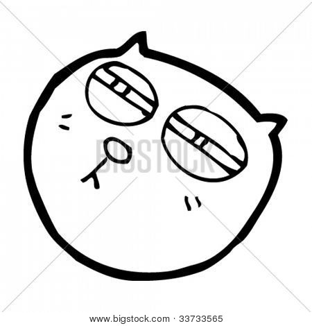 cartoon cat with narrow eyes