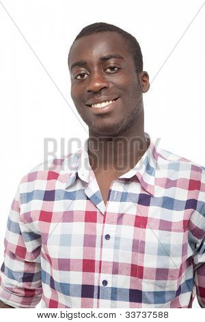 Young black man with a nice smile over white background.