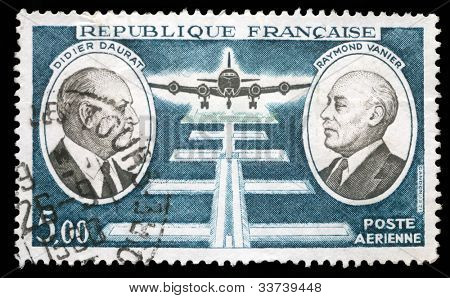 FRANCE - CIRCA 1971: stamp printed by France, shows Didier Daurat and Raymond Vanier, circa 1971