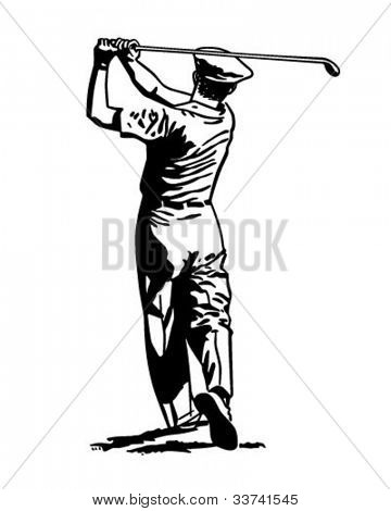 Golfer Teeing Off 2 - Retro Clipart Illustration