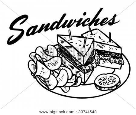 Sandwiches - Retro Clipart Illustration