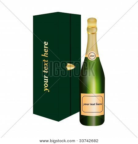 Bottle of alcoholic drink with luxury package
