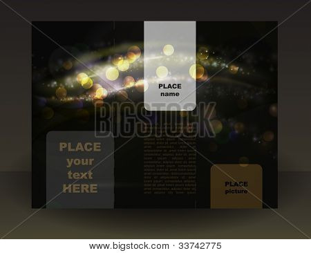 Template  with brown shiny abstract background