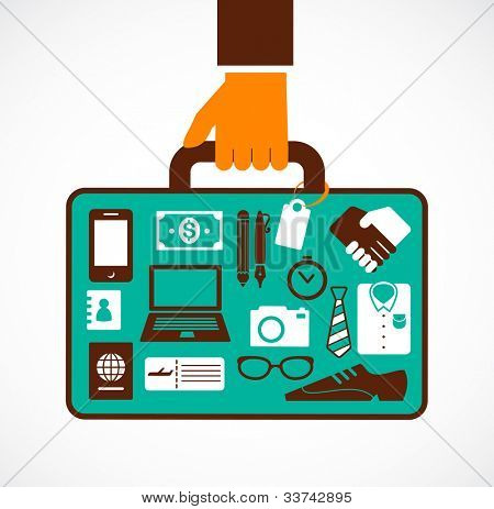 Business travel illustration - man with suitcase
