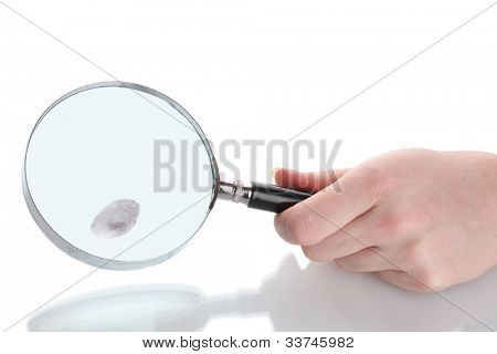 Magnifying glass in hand and fingerprint isolated on white