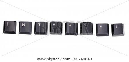 Keyboard keys saying internet isolated on white