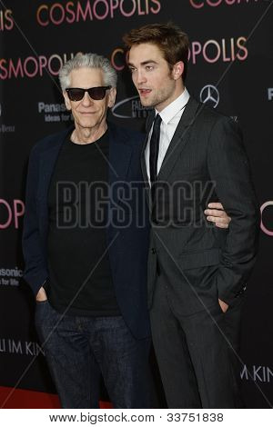 BERLIN - MAY 31: David Cronenberg, Robert Pattinson at the premiere of 'Cosmopolis' on May 31, 2012 in Berlin, Germany