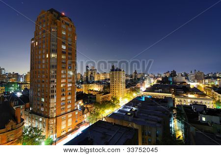 skyline of residential buildings in the Upper West Side of Manhattan at night