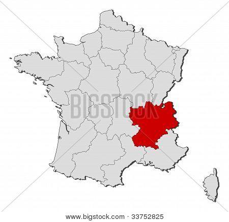 Map Of France, Rhône-alpes Highlighted