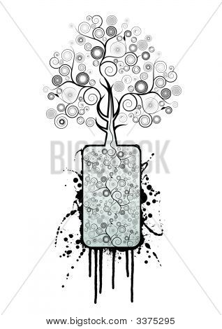 Black Spirals Splatter Tree