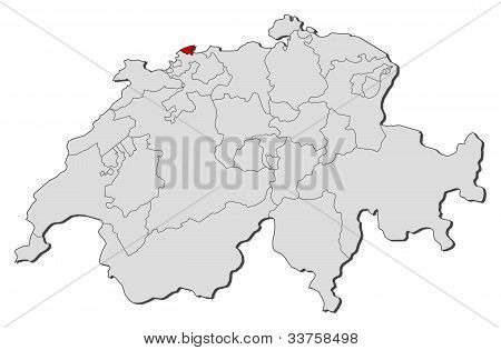 Map Of Swizerland, Basel-stadt Highlighted