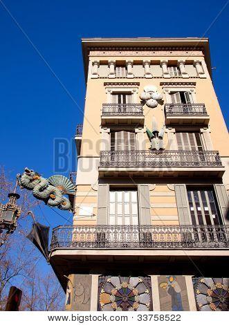 Barcelona Ramblas street dragon in Plaza de la Boqueria by Josep Vilaseca architect