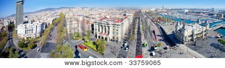 Aerial panoramic Barcelona view Port Passeig Colon and Ramblas [photo illustration]