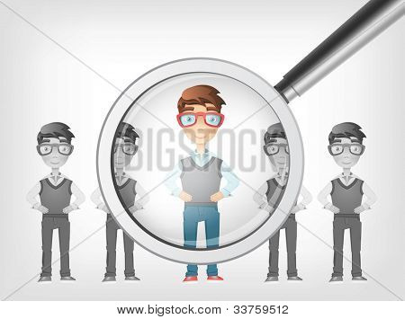 Find Human Concept. Grey Gradient Background. Vector EPS 10.