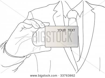 Business man with card vector illustration