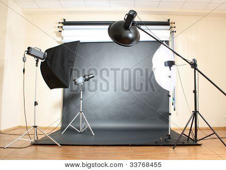 Studio flash on grey background