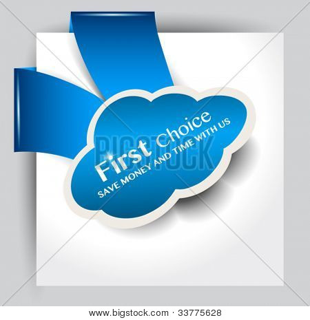 Cloud Computing Concept paper tag for sheet or image corners. Easy to apply on every surface.