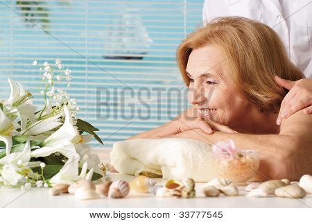 Beautiful Caucasian Elderly Woman At A Reception
