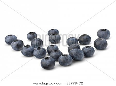 Bilberries or whortleberries cutout isolated on white background