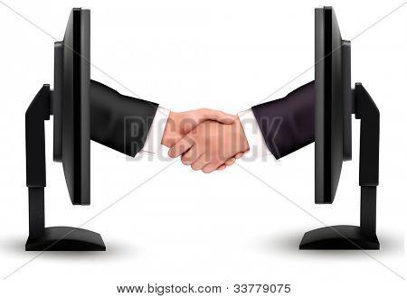 Virtual handshake. Internet working concept. vector