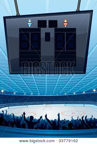 Ice Hockey Stadium with Scoreboard. Vector Illustration