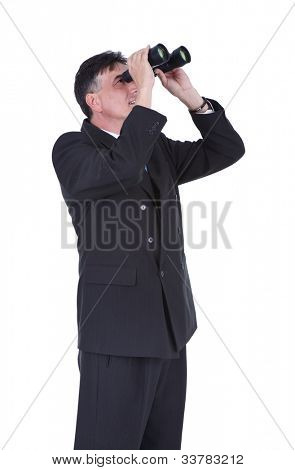 senior  businessman looking through binoculars,  isolated over white background