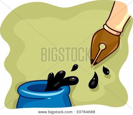 Illustration of a Fountain Pen Being Dipped in Ink