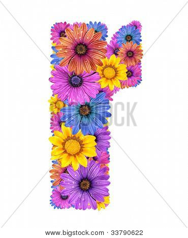 Alphabet of colorful dewy flowers, r