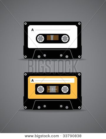 Vintage analogue music recordable cassette. Illustration