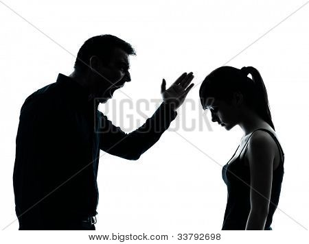 one man and teenager girl dispute conflict  in silhouette indoors isolated on white background