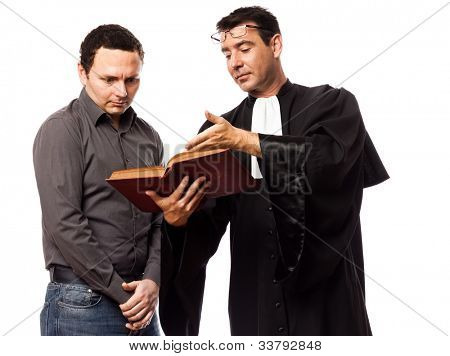 one caucasian lawyer man and his client in studio isolated on white background