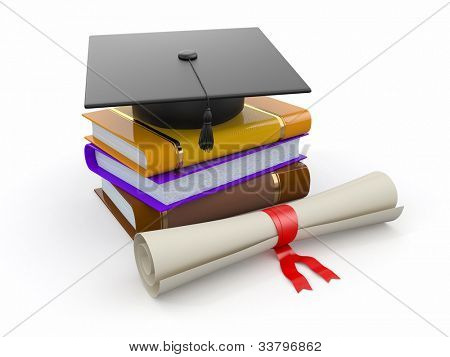 Graduation. Mortarboard, diploma and books on white background. 3d