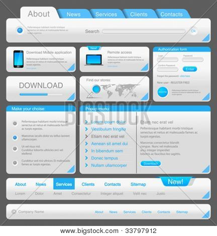 Web designers toolkit. Design elements collection. White Blue. Vector. Editable.