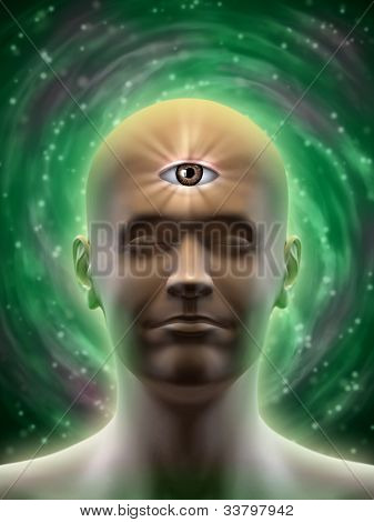 Male head with an open third eye in the middle of its forehead. Digital illustration.