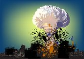 foto of nuke  - illustration with atomic explosion cloud above city - JPG