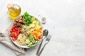 Vegetarian Vegan Salad Bowl Or Buddha Bowl With Grains, Tofu, Avocado, Vegetables And Greens. Balanc poster