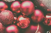 Glitter Red And Pink Bauble Christmas Ball Heap In Top View Flat Lay With Copy Space. Close Up View  poster