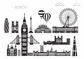 Vector Set Of  Landmarks Of London. City Skyline Vector Illustration In Black And White Colors Isola poster