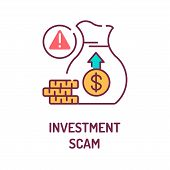 Investment Scam Color Line Icon On White Background. Cash Fraud. Losses. Bankruptcy. Illegal Busines poster