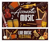 Live Music Festival Poster, Classic, Jazz And Folk Band Musical Instruments. Vector Acoustic Guitar, poster