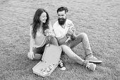 Fast Food Delivery. Bearded Man And Woman Enjoy Cheesy Pizza. Couple In Love Dating Outdoors With Pi poster