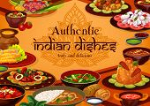 Indian Cuisine Traditional Food, India Authentic Dishes Menu. Vector Indian Cuisine Restaurant Break poster