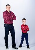 Cool Guys. Father Little Son Red Shirts Family Look Outfit. Best Friends Forever. Happiness Being Fa poster