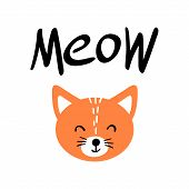 Cute Orange Cat Face With Meow Lettering. Flat Vector Illustartion Of Pet On White Background. poster