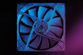 A Computer Fan With Blades Is Covered With A Thick Layer Of Dust On A Dark Background. Close-up, Tin poster