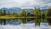 Holiday Cottages In The Norwegian Mountains By The Lake, Gaustatoppen, Scandinavia, Hytte, , , poster