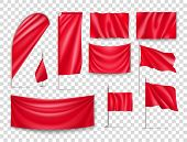 Red Rectangular Flags Set Isolated On Transparent Background. Realistic Wavy Flag On Pole, Expo Bann poster