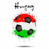 Abstract Soccer Ball Painted In The Colors Of The Hungary Flag. Flag Of Hungary In The Form Of A Soc poster